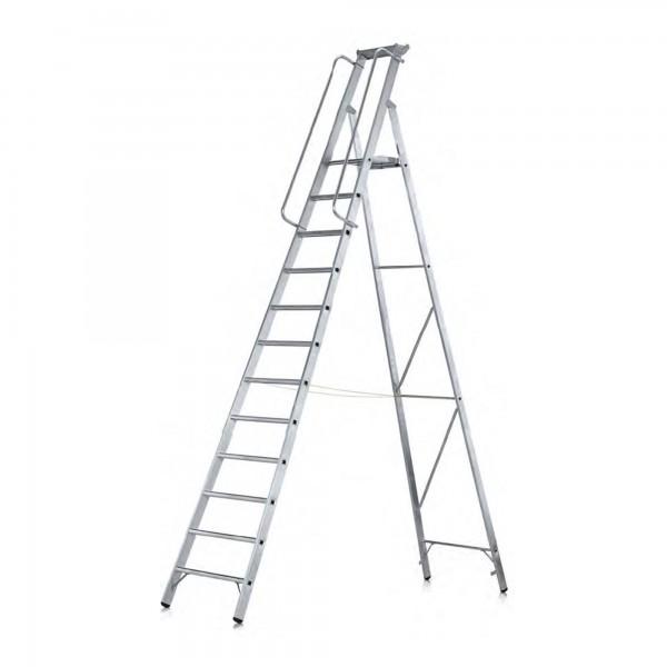 Stufen-Stehleiter einseitig begehbar mit groer Plattform und Ablage 41635